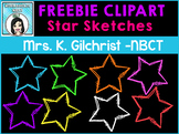 (FREE) Star Sketches Clip Art