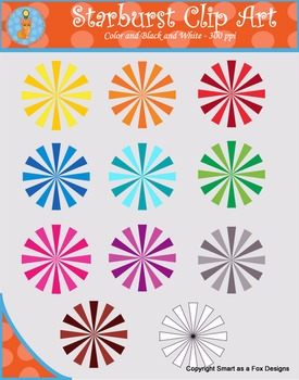 Starburst Clip Art (Blacklines included)