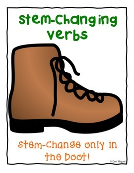 FREE Stem-Changing Boot Poster for Spanish Class