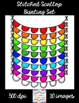 FREE Stitched Scallop Bunting Clip Art Set