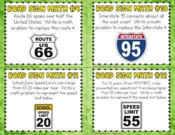 FREE Street Signs Math Task Cards Mini-Set