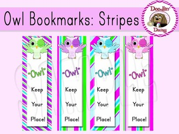 Owl Bookmarks: Stripes (FREE)