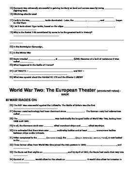 FREE Structured Notes for World War 2 (WWII) EUROPEAN THEATER 90-slide PPT