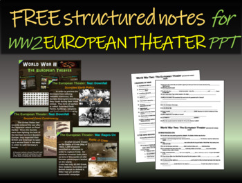 FREE Structured Notes for World War 2 (WWII) EUROPEAN THEA