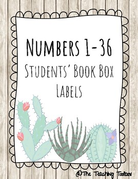 FREE Student Book Boxes Numbers (Succulents)