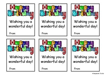 FREE Student Gift Birthday Tags
