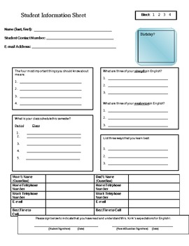 FREE Student Information Sheet - Student Interview Form