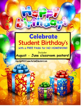 FREE Student Reward Birthday Incentive Posters for Back to School Classroom