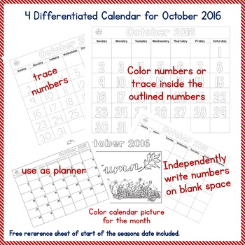 FREE October 2016 Student Calendar - 4 WHOLE Page Differentiated Sets PK-2, SPED