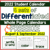 FREE October 2016 Student Calendar - 4 WHOLE Page Differen