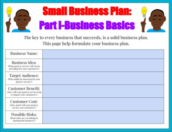 FREE Student Small Business Plan (Personal Financial Literacy & Common Core)