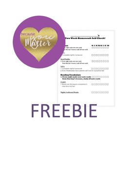 FREE Student Two Week Homework Checklist