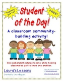 FREE Student of the Day Back to School  Classroom Communit