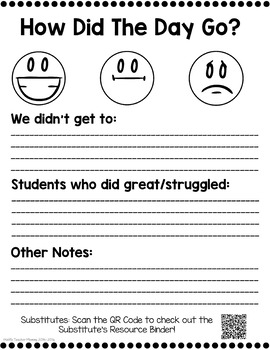 FREE Sub Binder Forms Sample for your Substitute Binder (Editable!)