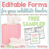 FREE Sub Binder Forms Sample for your Substitute Binder (E