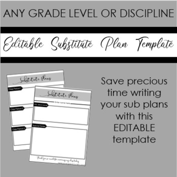 Editable Substitute Plan Template