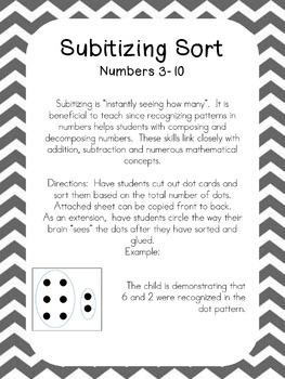 FREE Subitizing Sort