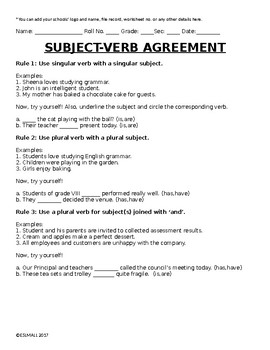 photo about Subject Verb Agreement Printable Worksheets titled Issue Verb Settlement Laws and Printable Cost-free