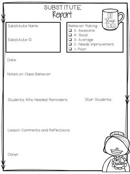 FREE Substitute Teacher Report