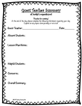 FREE Substitute Teacher Summary Form