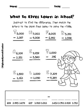 FREE Subtracting Across Zeros and Regrouping Math Riddle (