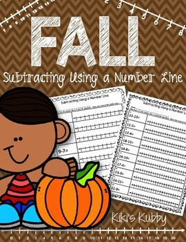 FREE Subtracting Using a Number Line: Fall Theme
