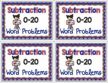 Subtraction 0-20 Word Problem Task Card Center