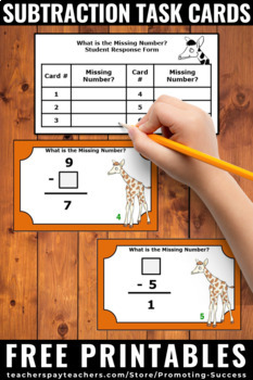 FREE Subtraction Facts Task Cards Kindergarten 1st Grade Math Centers Review