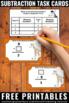 FREE Find the Missing Number Subtraction Task Cards, Kindergarten Math Review