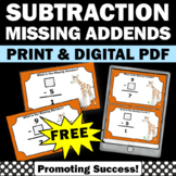 FREE Subtraction Facts Task Cards, Missing Addends, Distan