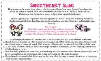 FREE Subtraction Slide - Valentine Version