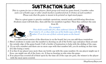 FREE Subtraction Slide math game