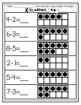 FREE...Subtraction Strategy Practice-Draw a Picture, Ten Frames and Number Lines