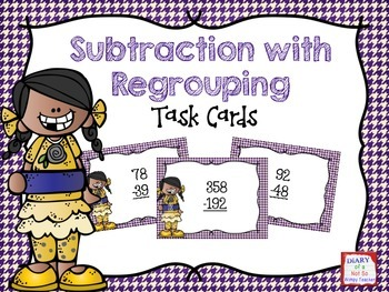 FREE Subtraction with Regrouping Task Cards