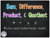 FREE- Sum, Difference, Product, and Quotient Posters