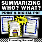 FREE Summarizing Fiction Passages Worksheets Special Educa