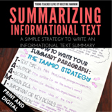 FREE Summarizing Informational Text Printables - Summarizing Graphic Organizer
