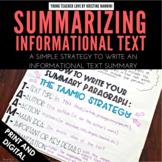 FREE Summarizing Informational Text - Google Classroom Dis