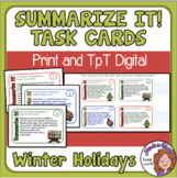 Summarizing Task Cards for Christmas, Hanukkah, and Kwanzaa - Free