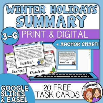 Summarizing Task Cards for Christmas, Hanukkah, and Kwanzaa - Free