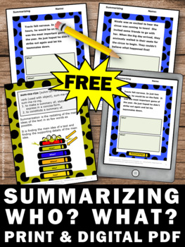 FREE Summarizing Worksheets Wh Questions Reading Comprehension Passages