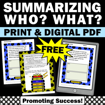 Free Summarizing Worksheets