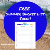 FREE Summer Bucket List Sheet!