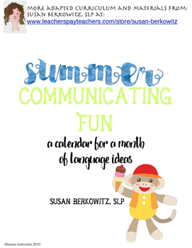FREE! Summer Communication Fun - for students who need language support