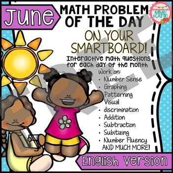 FREE Summer End of Year Father's Day June SmartBoard Math Problem of the Day
