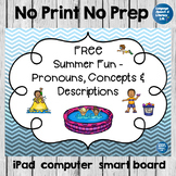 FREE Summer Fun - Pronouns, Concepts & Descriptions, No Print - Teletherapy