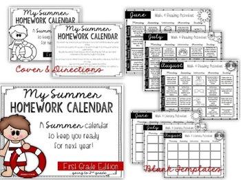 FREE Summer Homework Calendars {first grade}