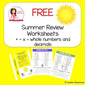 FREE Summer Math Review Worksheets NO PREP