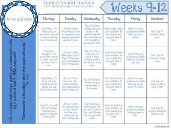 Homework Calendars | Free Summer Speech Homework Calendars For Articulation By