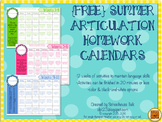 {FREE} Summer Speech Homework Calendars for Articulation